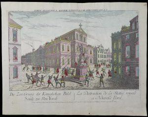 Franz Xaver Habermann, La destruction de la statue royale a Nouvelle Yorck, c. 1776. Ruggles 592.